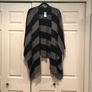 Striped Poncho Sweater Wrap